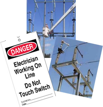 image_Danger Electrician Working On Line - Do Not Touch Switch